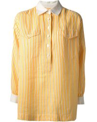 Yves Saint Laurent Vintage Striped Oversized Shirt - Lyst