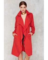 Nasty Gal | Trench Warmer Belted Coat - Red | Lyst