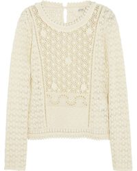 Vanessa Bruno Athé Embroidered Cottonlace Top - Lyst