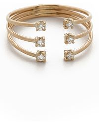 Jennie Kwon - Diamond Cage Cuff Ring - Gold/clear - Lyst