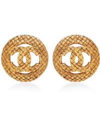 What Goes Around Comes Around Chanel Woven Cc Rounded Earrings - Lyst