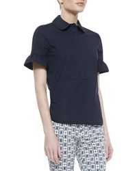 Tory Burch Britta Bell Sleeve Top Navy - Lyst
