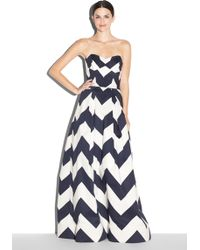 Milly Chevron Print Ava Strapless Gown blue - Lyst