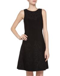 Vera Wang Fit-and-flare Embossed Cocktail Dress - Lyst