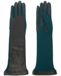 Lanvin Longlength Leather and Wool Gloves - Lyst