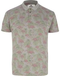 River Island Grey Bellfield Flamingo Print Polo Shirt - Lyst