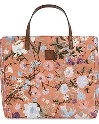 Gucci Floral Canvas Tote - For Women - Lyst