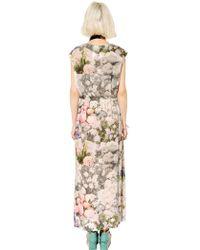 MM6 by Maison Martin Margiela Flower Printed Draped Jersey Dress - Lyst