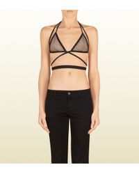Gucci - Black and Nude Mesh Bra Top - Lyst