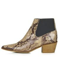 Topshop Marr Snake-Effect Pointed Ankle Boots - Lyst