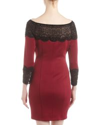 Alexia Admor Beaded Scalloped Mesh Yoke Dress Burgundy Black - Lyst