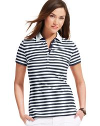 Tommy Hilfiger Short Sleeve Striped Contrast Trim Polo - Lyst