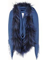 Lyst - Fendi Touch Of Fur Shawl in Pink a248355ba66