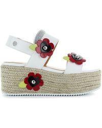 Love Moschino - Rope Wedge White Sandal - Lyst