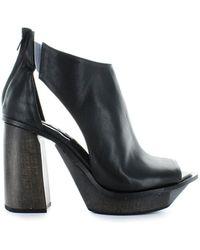 Malloni Black Leather Open Toe Bootie