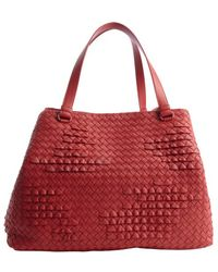 Bottega Veneta Red Intrecciato Leather Poussin Tote - Lyst