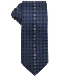 Armani Navy Silk Blend Check And Logo Patterned Tie - Lyst