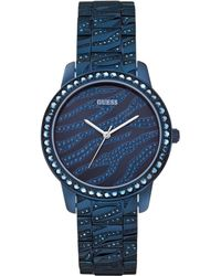 Guess Womens Crystal Accent Blue-tone Bracelet Watch 38mm - Lyst