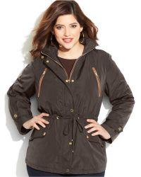 Michael Kors Michael Plus Size Faux-Leather-Trim Hooded Anorak Jacket - Lyst