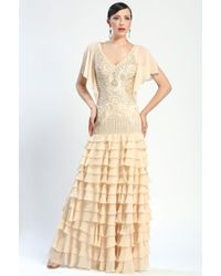 Sue Wong Beaded Tiered Gown - Lyst