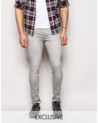 WÅVEN - Exclusive To Asos Jeans Erling Spray On Super Skinny Fit Light Gray - Lyst