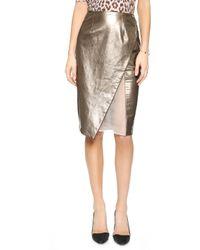 Misha Nonoo - Metallic Leather Pencil Skirt - Mercury - Lyst