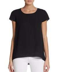Adrianna Papell Black Pleated-back Top - Lyst