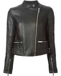 MICHAEL Michael Kors Fitted Zip Biker Jacket - Lyst