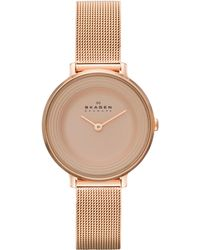 Skagen Women'S Ditte Rose Gold Ion-Plated Stainless Steel Mesh Bracelet Watch 30Mm Skw2213 - Lyst