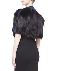 Carolina Herrera Goat Fur Cropped Jacket Indigo - Lyst