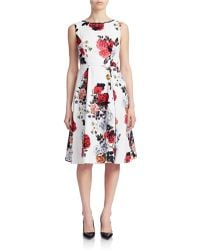 Bcbgmaxazria Front Twist Fit Flare Dress In White Off