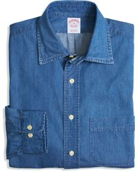 Brooks Brothers Denim Regular Fit Sport Shirt - Lyst