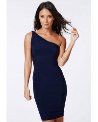 Missguided Orla One Shoulder Slinky Mini Dress Navy - Lyst