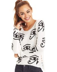 Material Girl - Juniors Destroyed Graphic Sweater - Lyst