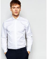 Number Eight Savile Row - Exclusive Shirt With Cut Away Collar In Skinny Fit - White - Lyst