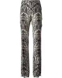 Roberto Cavalli Animal Print Flared Trousers - Lyst