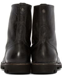 DIESEL - Black Leather Steel Boots - Lyst