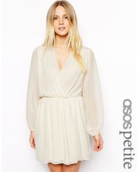 Asos Exclusive Wrap Front Lace Insert Dress - Lyst
