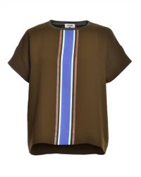 J.won - Knit T-shirt In Olive Green With Stripe - Lyst