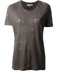 Iro Dark Grey Distressed Clay Tshirt - Lyst