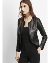 Vince | Tailored Collarless Leather Jacket | Lyst