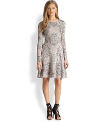 BCBGMAXAZRIA Printed Fitandflare Dress - Lyst