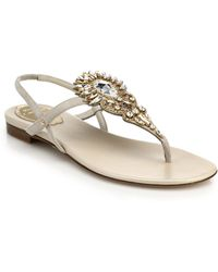 Rene Caovilla Bejeweled Leather Thong Sandals - Lyst
