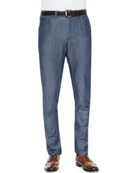 Brioni Five-Pocket Silk-Cotton Denim Pants - Lyst