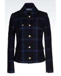 Armani Jeans Pea Coat In Checked Wool Blend - Lyst