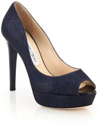 Jimmy Choo Dahlia Lamé Peep-Toe Pumps blue - Lyst
