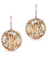 Anne Sisteron - 14kt Rose Gold White Topaz Small Round Earrings - Lyst