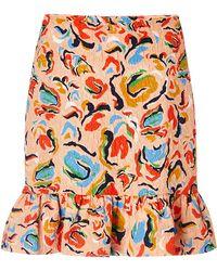 Saloni Lou Printed Ruffle Skirt - Lyst