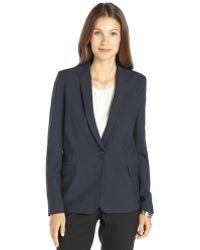 Theyskens' Theory Dark Navy Wool-blend Single Button Blazer - Lyst