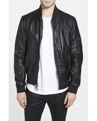 Rogue Black Leather Bomber Jacket - Lyst